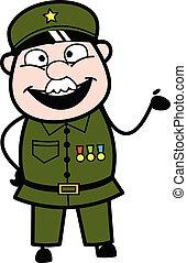 militær, cartoon, glade, illustration mand