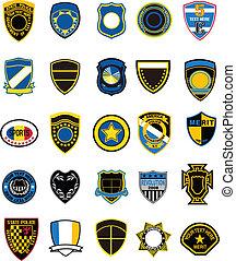 militær, emblem, skjold
