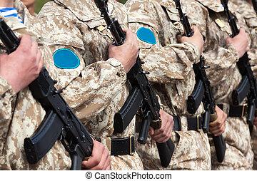militær ensartet, soldat, række
