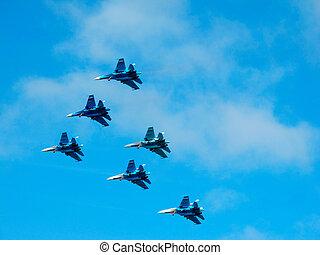militær, fighter, jetter, during, demonstration