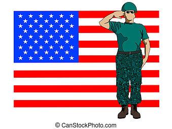 militær, flag, og, soldat