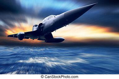 militær flyvemaskine, lavtliggende, hen, den, hav
