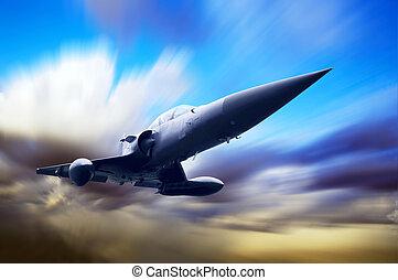 militær flyvemaskine, på, den, hastighed