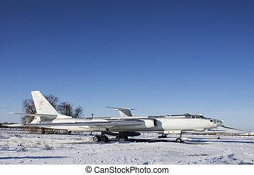 militær flyver, på, ukraine, luftfart, museum