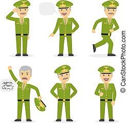 militær, general, karakter, vektor