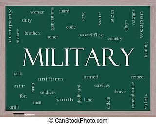 militær, glose, sky, begreb, på, en, sort vægtavle