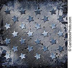 militær, grunge, hos, stjerner