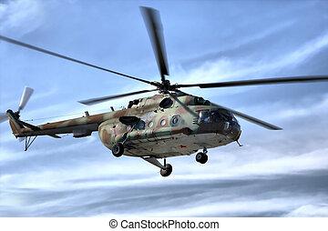 militær helicopter, ind, himmel