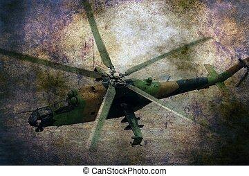 militær helicopter, på, grunge, baggrund