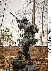 militær, jern, statue