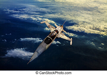 militær, jet flyvemaskine, flyve hen, moun