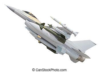 militær, jet flyvemaskine, hos, fulde, våben, missil, isoleret, på hvide