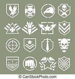 militær, logos, i, speciel fremtvinger