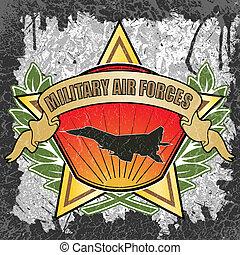 militær, luft fremtvinge, symbol