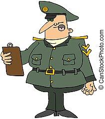 militær, mand, hos, en, clipboard