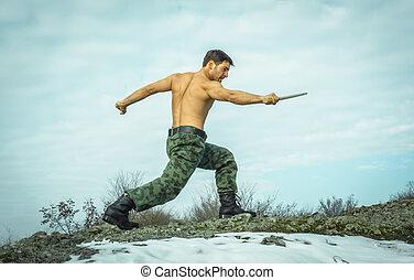 militær, mand, oplæring, martial kunster