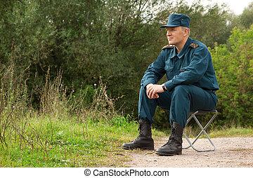 militær, mand