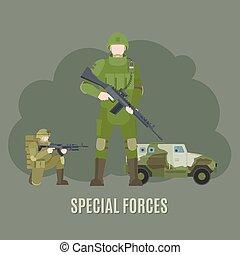 militær, og, hær, speciel fremtvinger