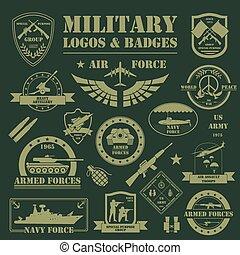 militær, og, pansret, køretøjene, logos