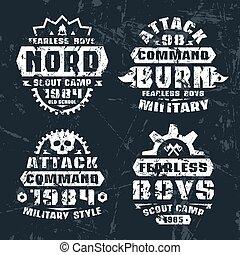 militær, og, spejder, emblemer