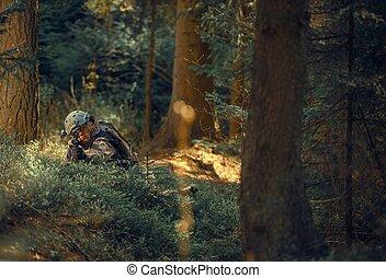 militær, operation, ind, skov