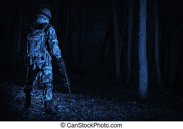 militær, operation, nat hos