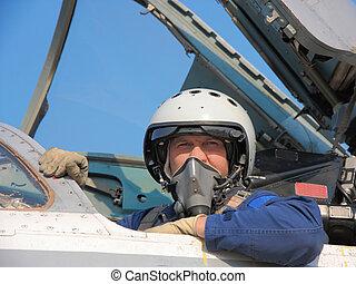 militær pilot, ind, en, hjælm, på, en, flyvemaskine
