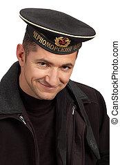 militær, sømand, ind, sorte ensartede
