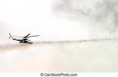 militær, skyde, helicopter