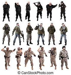 militær, soldat, opstille