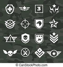 militær, symbol, iconerne, og, logos, speciel fremtvinger