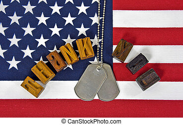 militær, tak for lån, på, amerikaner flag