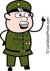 militær, tales, cartoon, glade, mand