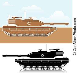 militær, tank, enkel