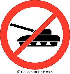 militær, tank, tillad ikke, tegn