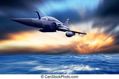 militaer, airplan, auf, der, geschwindigkeit