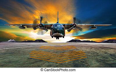 militaer, eben, landung, auf, airforce, startbahnen, gegen, schöne , dus