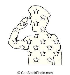 militaer, fahne, silhouette, usa, salutieren