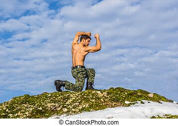 militaer, junger mann, training, kriegerisch