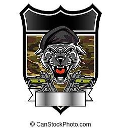 militaer, kopf, maskottchen, panther, puma