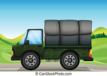 militaer, lastwagen, straße