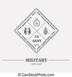 militaer, logo, und, badge., fernglas, kompaß, granate, sprengstoff, bombe, detonator., grafik, schablone