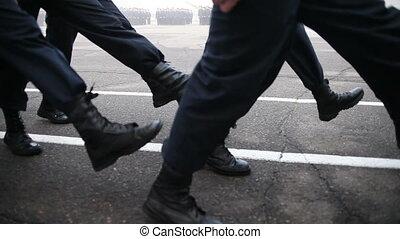 militaer, marschieren, in, der, festumzug