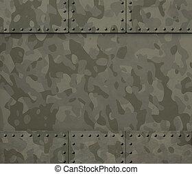 militaer, metall, mit, nieten, 3d, abbildung, hintergrund