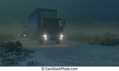 militaer, nacht, straße, lastwagen, schmutz
