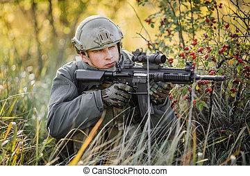 militaer, soldat, schießen, ein, greifen gewehr