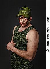 militaer, stil, tarnung, auf, der, soldier's, gesicht