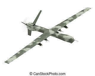 militaer, unmanned, luftaufnahmen, fahrzeug, freigestellt, weiß
