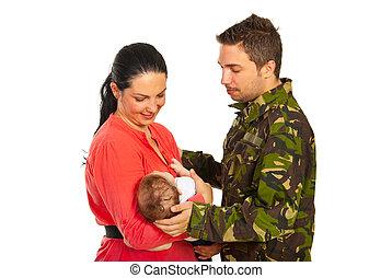 militaer, vater, treffen, seine, familie