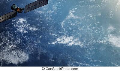 militair, agant secret, satelliet, in, orbit.